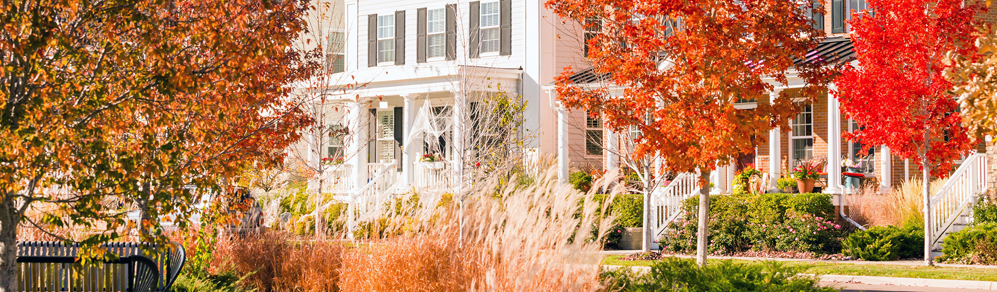 image showcasing residential homes in fall with red and orange trees in front.